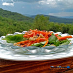 This healthy carrot salad with homemade dressing is served on top of a bed of spinach with juicy raisins, and candied walnuts. It was delicious! | TheMountainKitchen.com