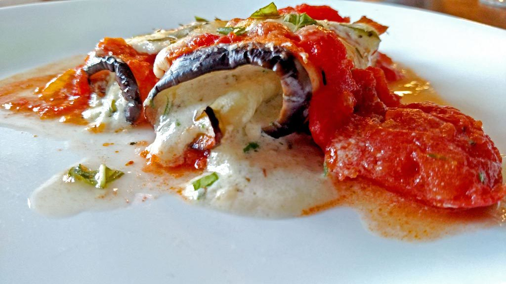 eggplant rollatini with oozing melted cheese and sauce
