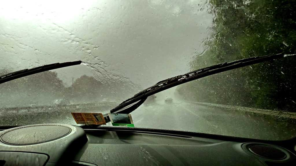 driving home in the pouring rain
