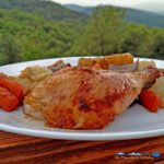 Leap into Fall with this roast chicken and vegetables. Moist and succulent, this chicken is enhanced with a savory herb butter and vegetables. | TheMountainKitchen.com