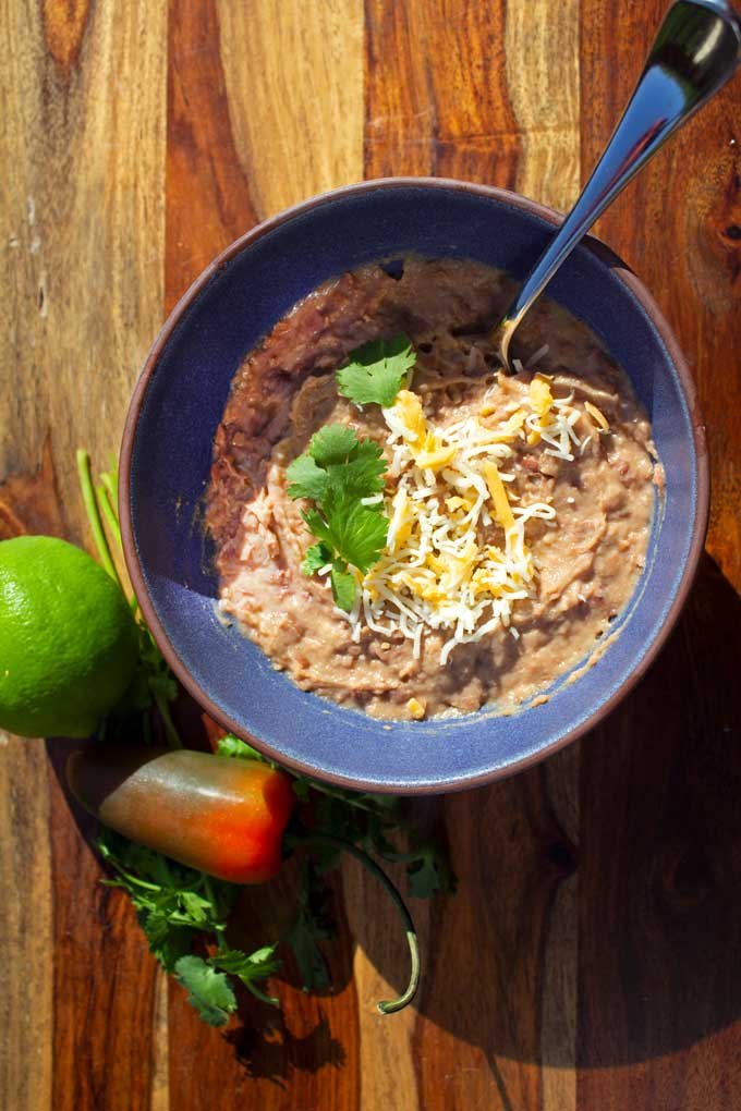 refried beans in a bowl
