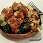 Sausage, Kale & Cheese Stuffed Portobello Mushrooms | Portobello mushroom caps are not just appetizers! Make a meal off of these Sausage, Kale and cheese Stuffed Portobellos, filled with Italian sausage, kale and cheese and Italian herbs and lots of flavor! | TheMountainKitchen.com