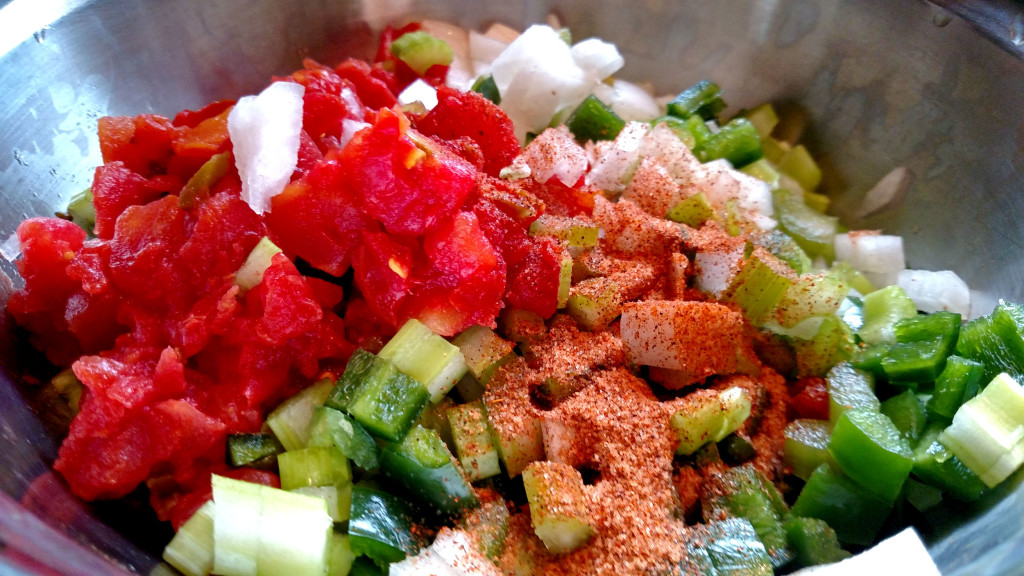 chopped vegetables with seasoning