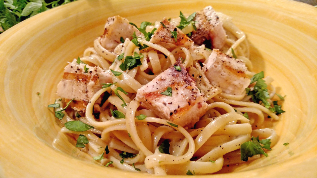 Linguine With Grilled Swordfish and Parsley Anchovy Sauce | Linguine and grilled swordfish tossed with a rich, and flavorful parsley anchovy sauce with parmesan cheese and hints of lemon. This delicious pasta is easy to make and is impressive without a lot of effort. | TheMountainKitchen.com