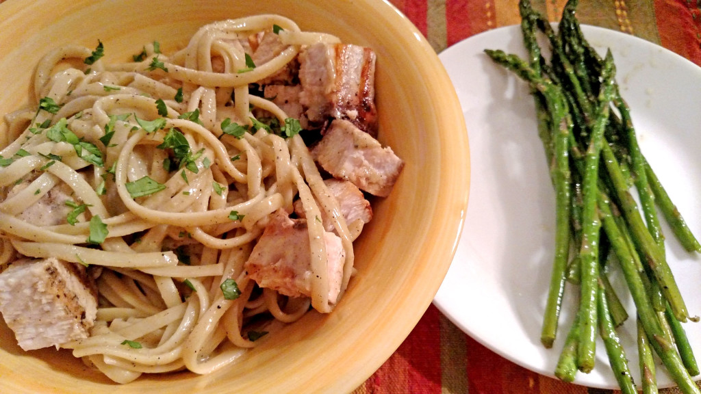 Linguine with Grilled Swordfish and Anchovy Sauce | TheMountainKitchen.com
