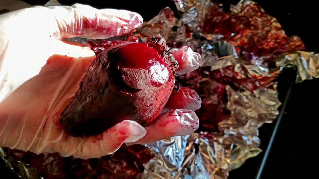 using gloves to protect hand from beets