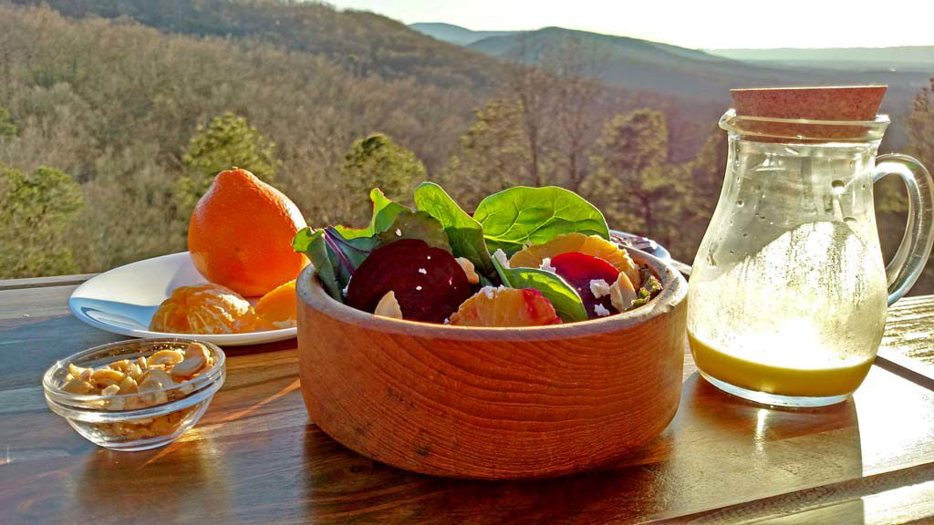 roasted beet citrus salad with mountain view