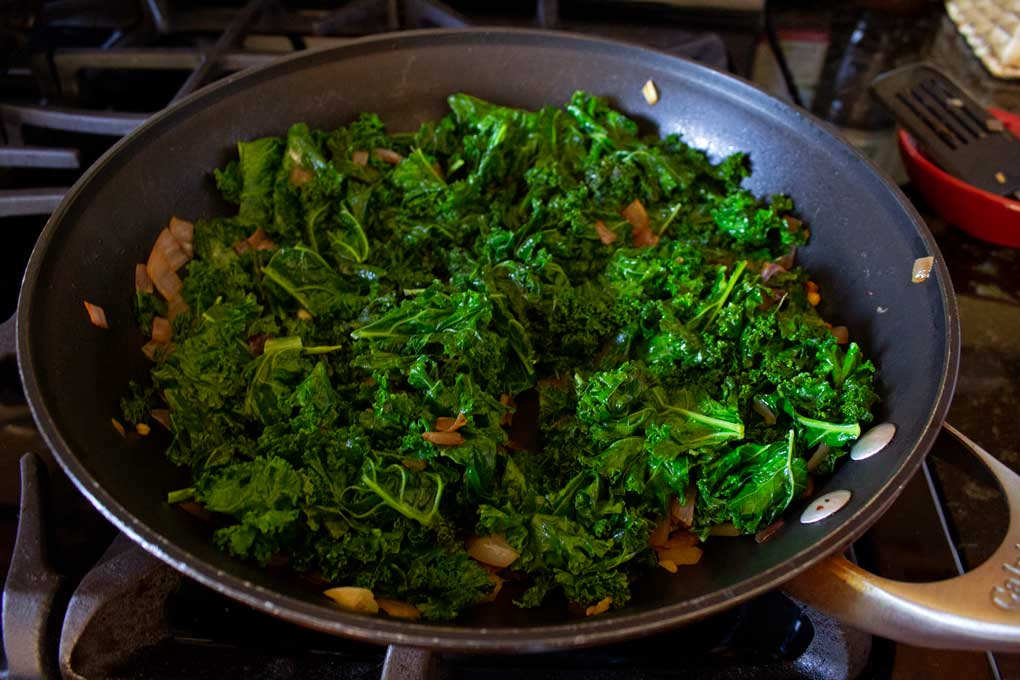 kale mixture in pan