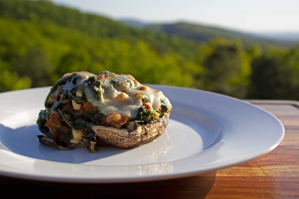 cheesy sausage kale stuffed mushroom with mountain view