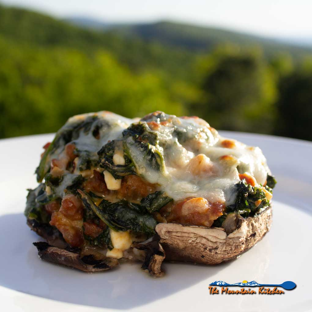 Cheesy Sausage Kale Stuffed Mushrooms