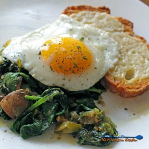 Leeks and Mushrooms With Cheesy Toasts and Fried Eggs {A Meatless Monday Recipe