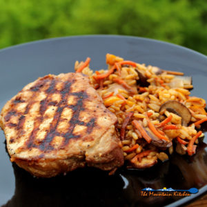 Grilled Teriyaki Pork Chops with Stir-Fried Vegetables and Rice