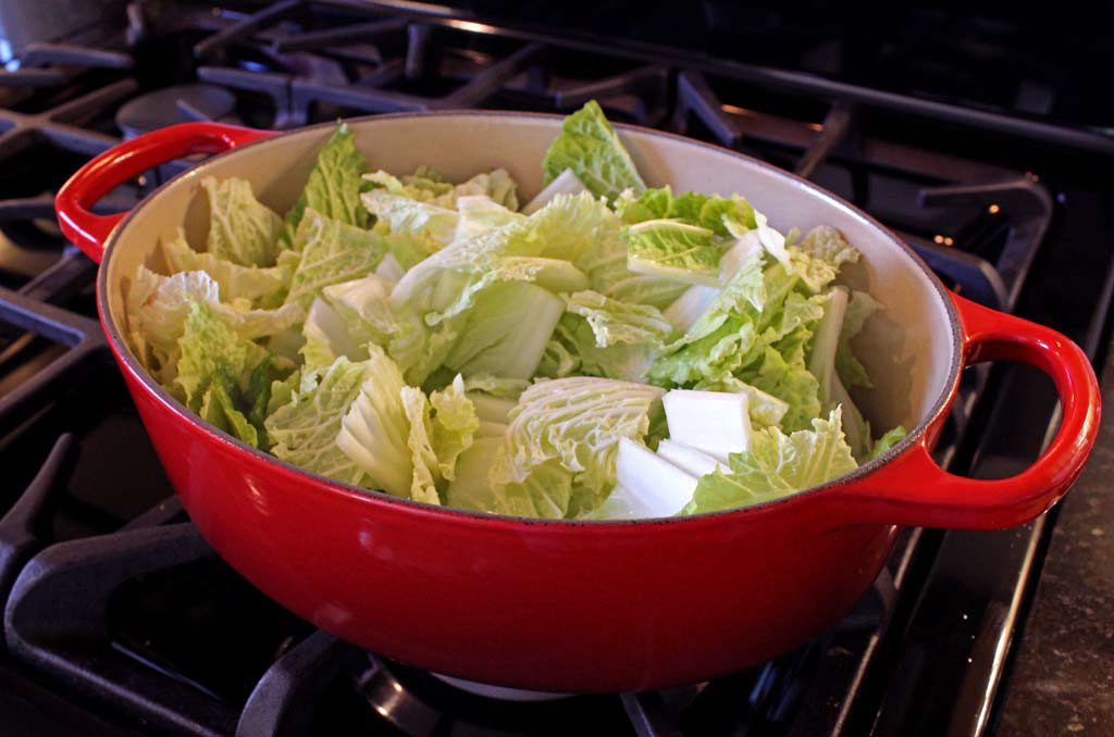 cabbage in a pot on stove