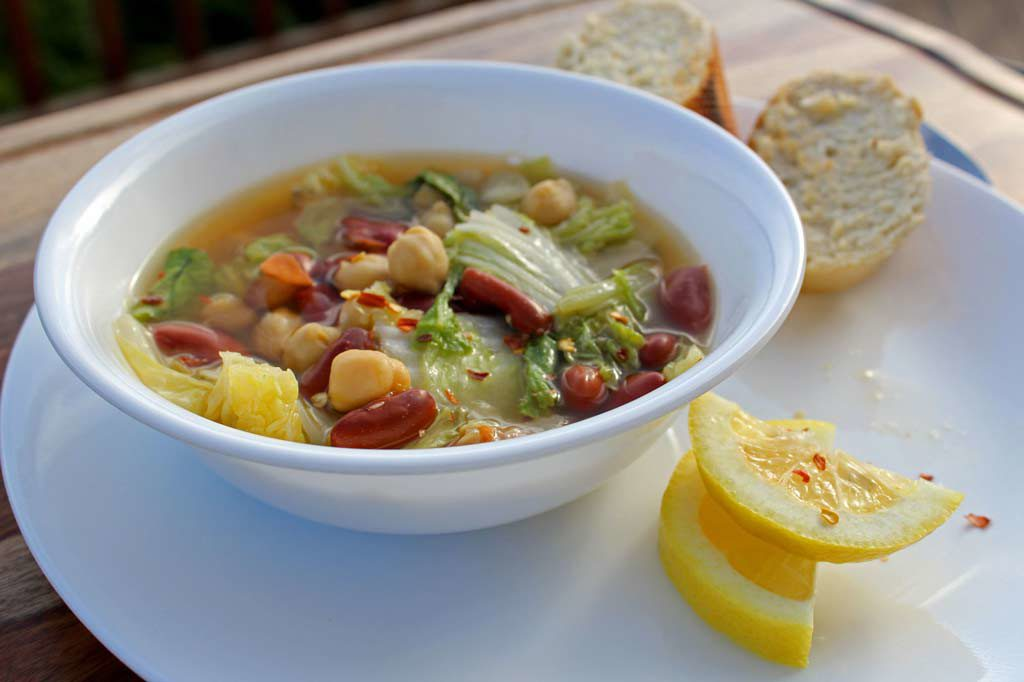 bowl of napa cabbage and bean soup