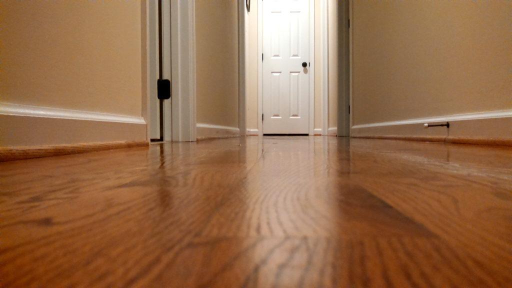 fresh mopped hallway