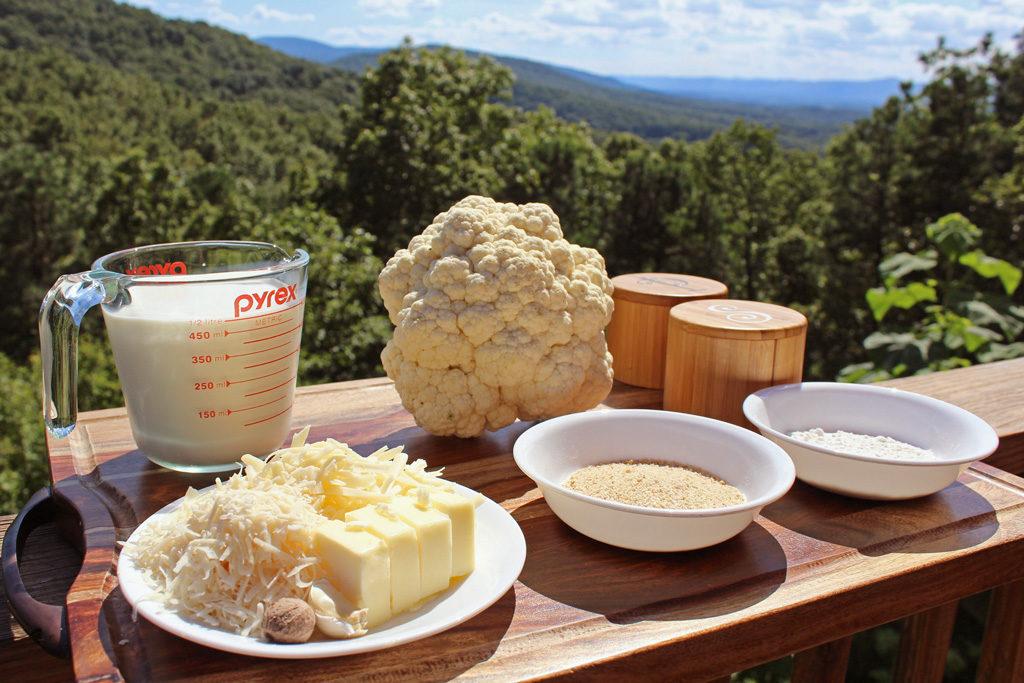 ingredients to make cauliflower gratins