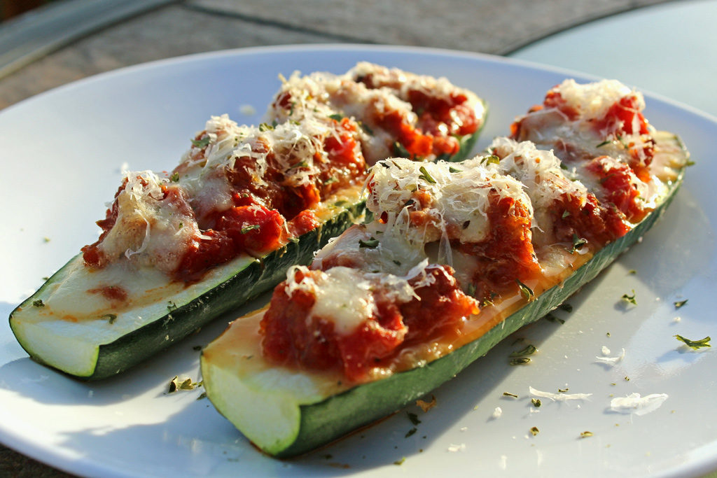 Sweet Italian Sausage Stuffed Zucchini Boats ready to eat