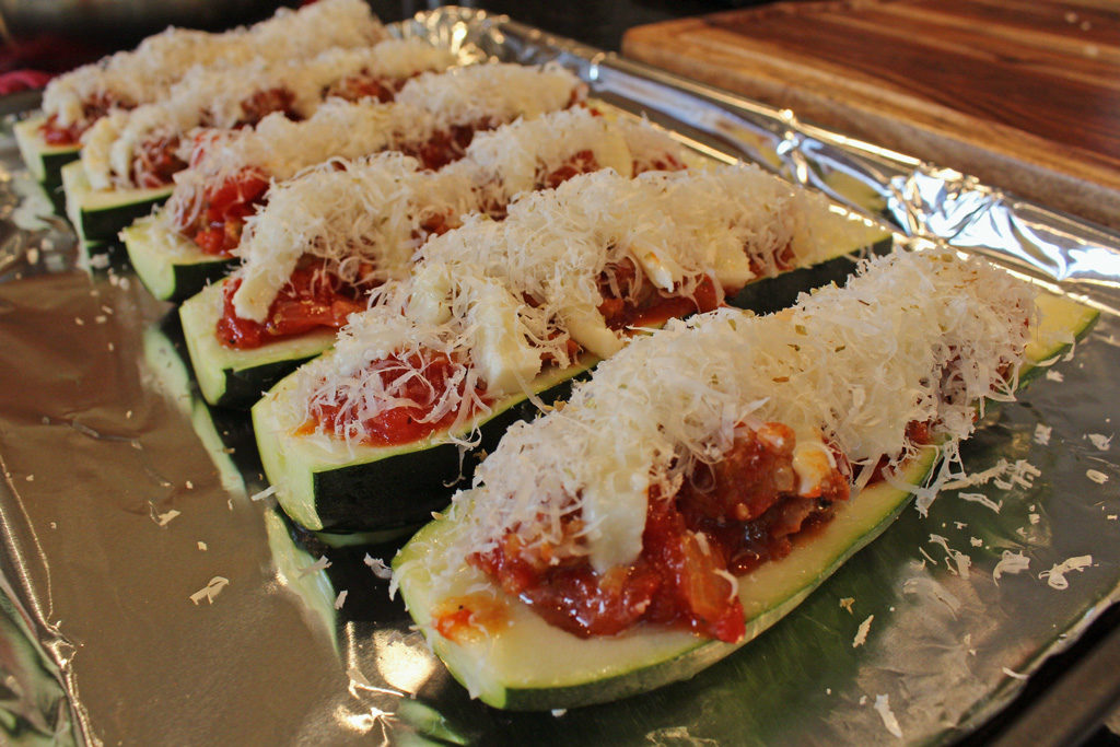 stuffed zucchini ready for oven