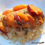 Jerk Chicken with Spicy Peach and Plum Coconut Sauce | Easy to make, this chicken rubbed with jerk seasoning, topped with a deliciously spicy peach and plum coconut sauce over Jasmine Rice is made in minutes.