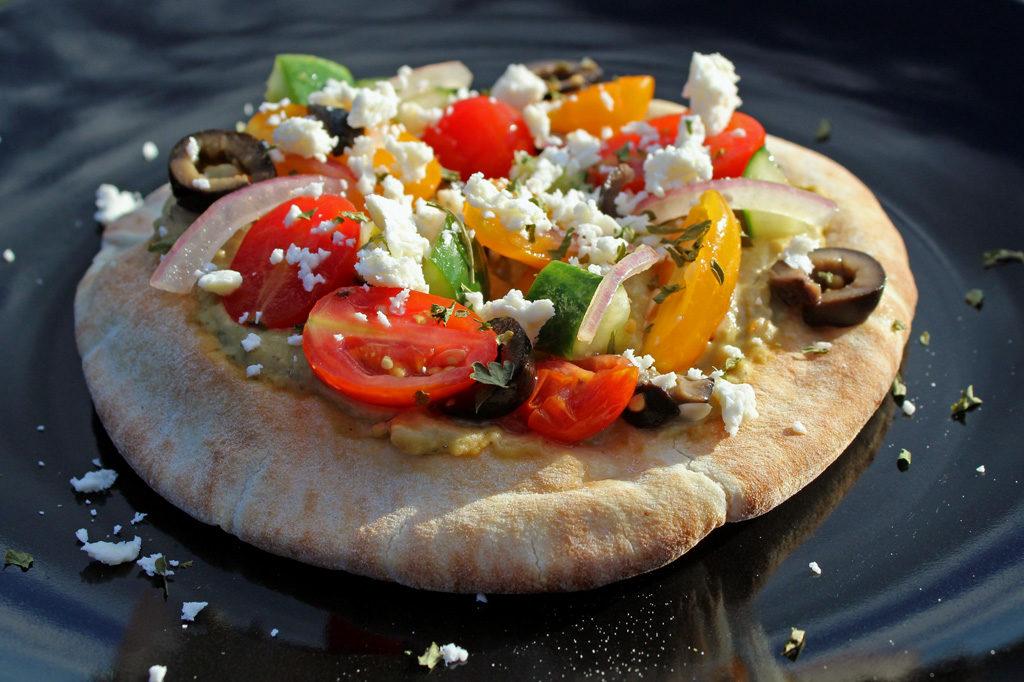 No-Bake Greek Pizza ready to eat