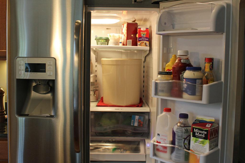 pickling crock inside refrigerator