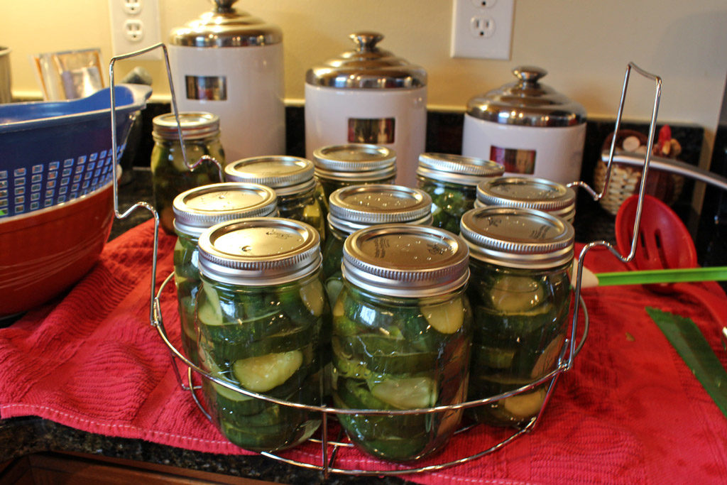 jars of pickles ready to go into canner