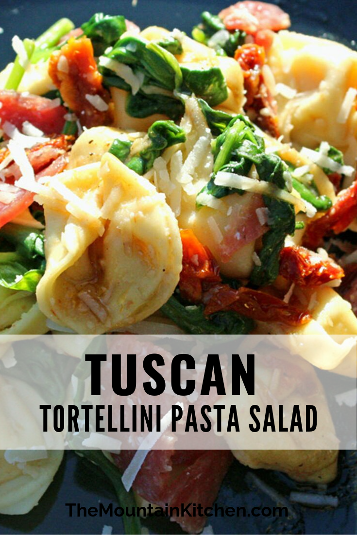This Tuscan Tortellini Pasta Salad is loaded with cheese tortellini pasta, Italian salami, tangy sun-dried tomatoes and fresh spinach, topped with extra parmesan cheese and a savory homemade balsamic dressing.
