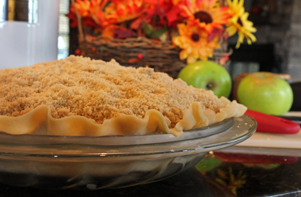 apple crumb pie ready to go inside oven