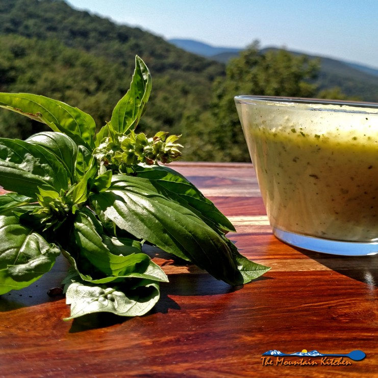 This quick and easy creamy basil vinaigrette can be used as a salad dressing, sauce for fish, chicken, potatoes, tomatoes, or BLTs! | TheMountainKitchen.com