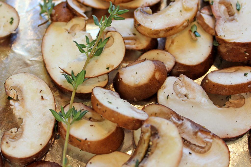 mushrooms on a sheet pan