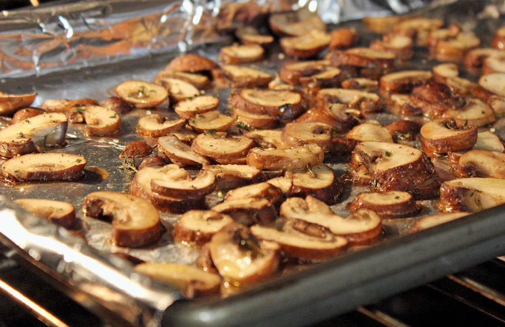 mushrooms cooking in oven