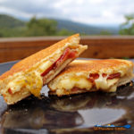 bacon apple gouda grilled cheese sandwich with mountain view