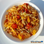 Cajun Pasta with Andouille Sausage: Cajun spices season this pasta dish tossed with fire-roasted tomatoes, onions, peppers, andouille sausage and cheese. | TheMountainKitchen.com