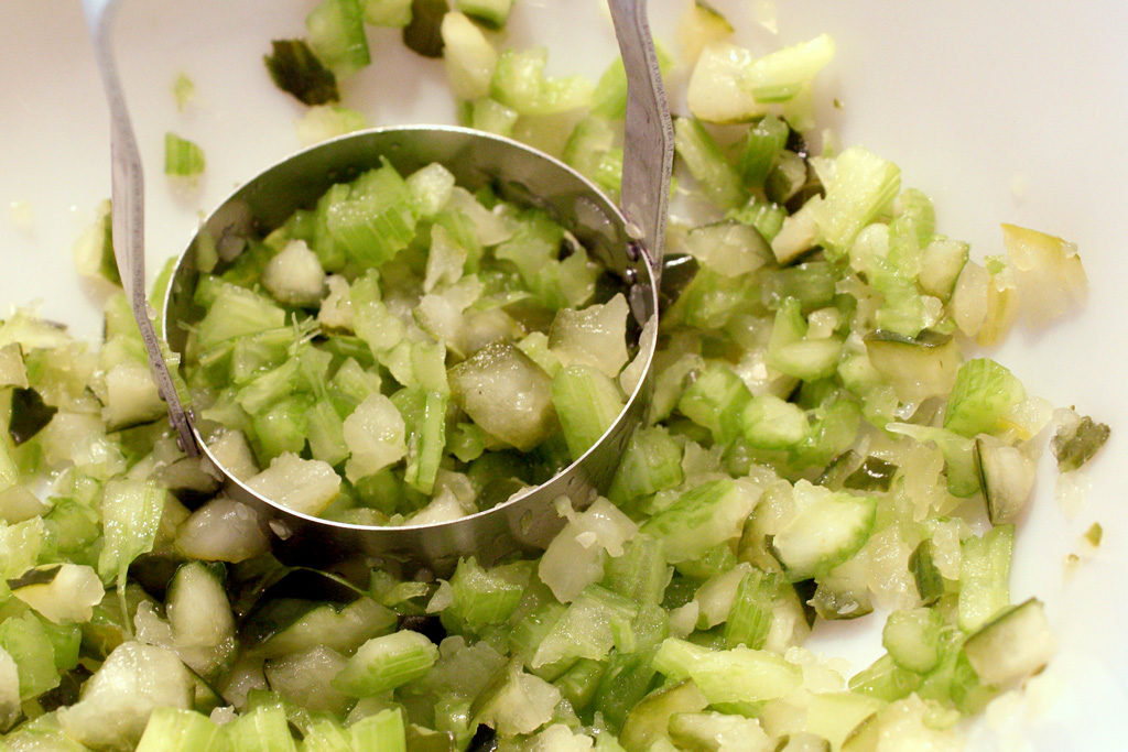 Chopped pickles and celery.