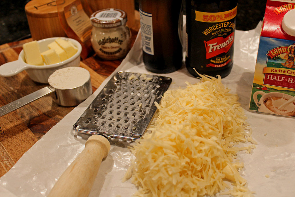 Ingredients needed to make the cheese sauce.