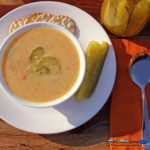 If you love dill pickles like we do, then you will love this dill pickle soup with creamy potatoes, carrots, sour cream, warm spices and tangy dill pickles.   TheMountainKitchen.com