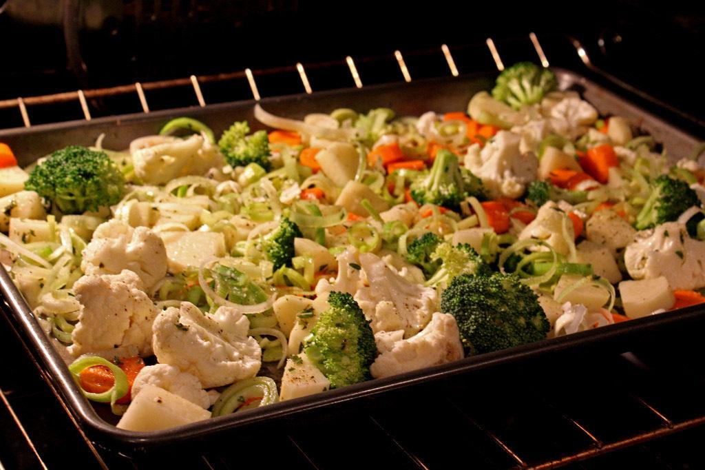 vegetables roasting inside oven