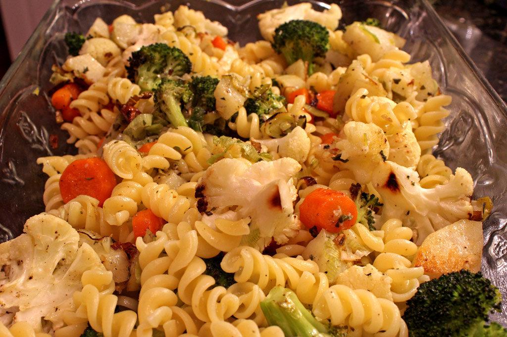 roasted vegetables and noodles