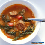 This Spanish-Style White Bean Soup is based on fresh ingredients, with Chorizo sausage and kale, in a rich saffron broth with smoked paprika, & white beans.   TheMountainKitchen.com
