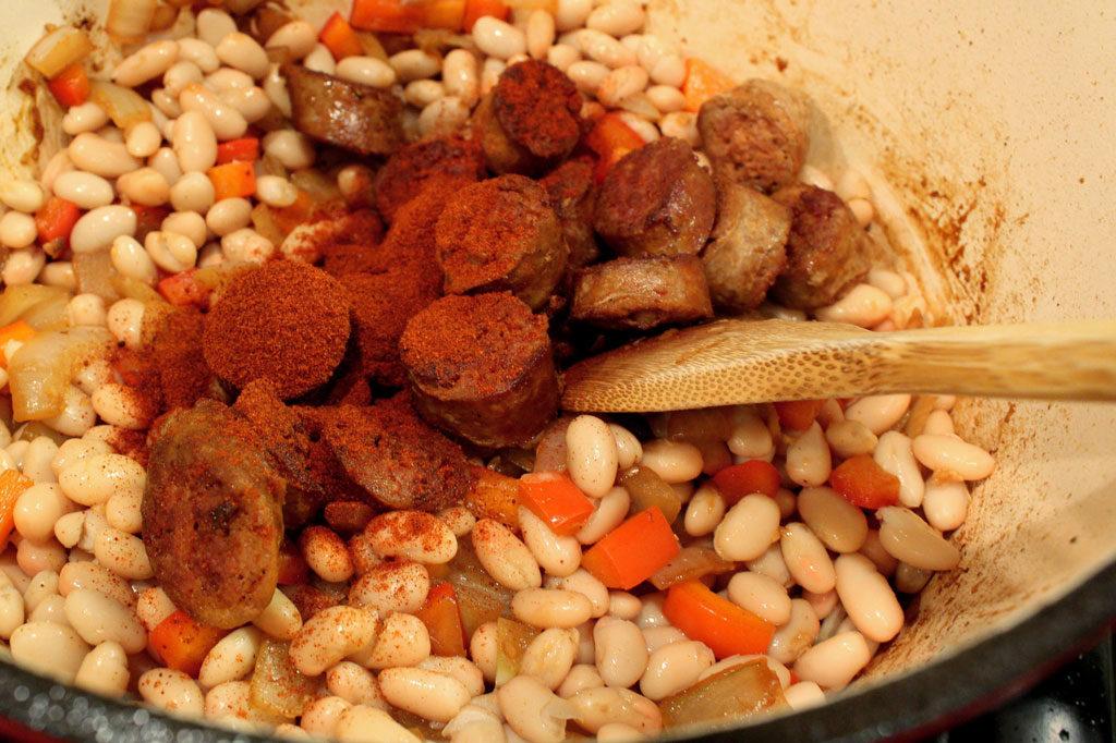 stirring in smoked paprika