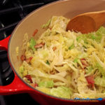 This simple recipe for bacon-fried cabbage only has 3-ingredients. The cabbage is seasoned with bite-sized bits of bacon. An easy side dish in just minutes. | TheMountainKitchen.com