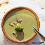 This rustic vegetarian broccoli potato soup is made with creamy potatoes, broccoli and savory mushrooms seasoned with warm savory curry spices. Coziness!   TheMountainKitchen.com
