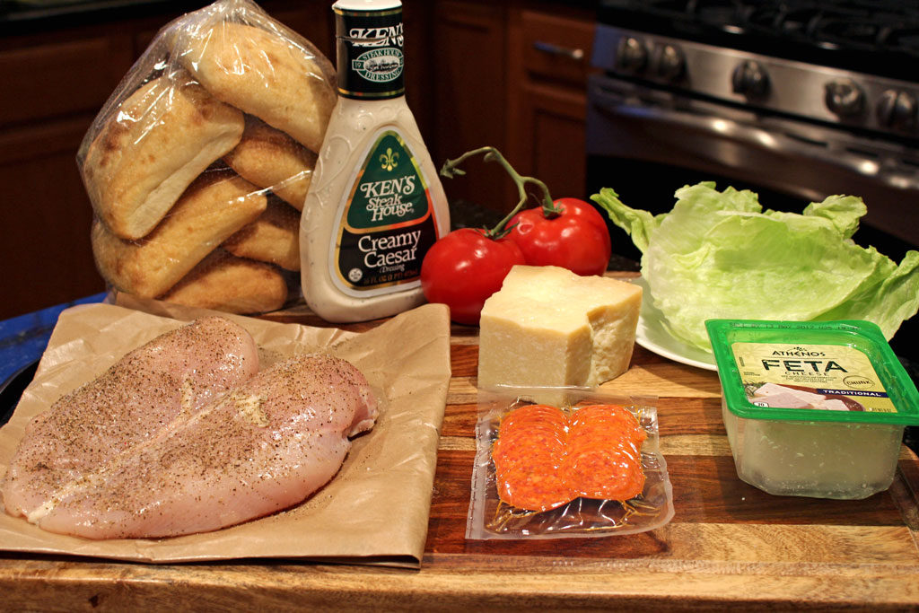 Grilled chicken Caesar sandwiches with juicy grilled chicken, on crisp ciabatta bread, with Caesar dressing, cheese, and pepperoni slices. Amazing!   TheMountainKitchen.com