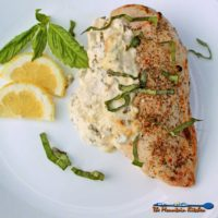 Feta Basil Lemon Chicken is made with a flavorful, tangy mixture of feta and cream cheeses, lemon,basil, and garlic.It's creamy and zippy with every bite! | TheMountainKitchen.com