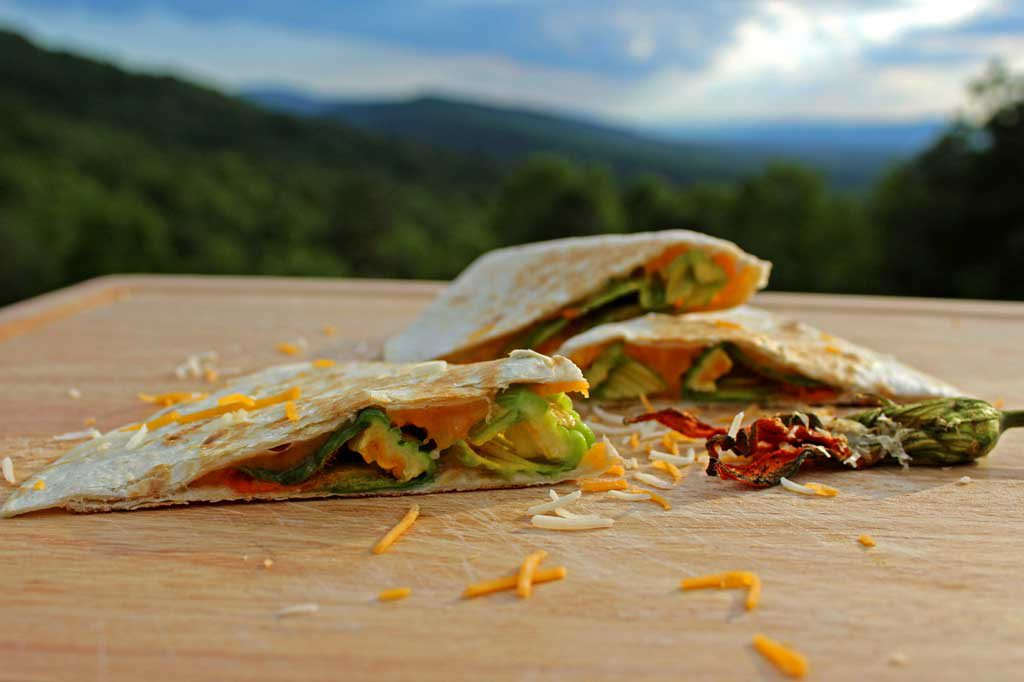 squash blossom quesadilla with mountain view