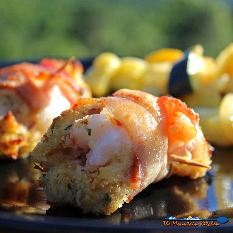 Served as a appetizer or main course, Bacon Wrapped Crab Stuffed Shrimp are made with rich crab meat packed around jumbo shrimp, wrapped in smoky bacon. | TheMountainKitchen.com