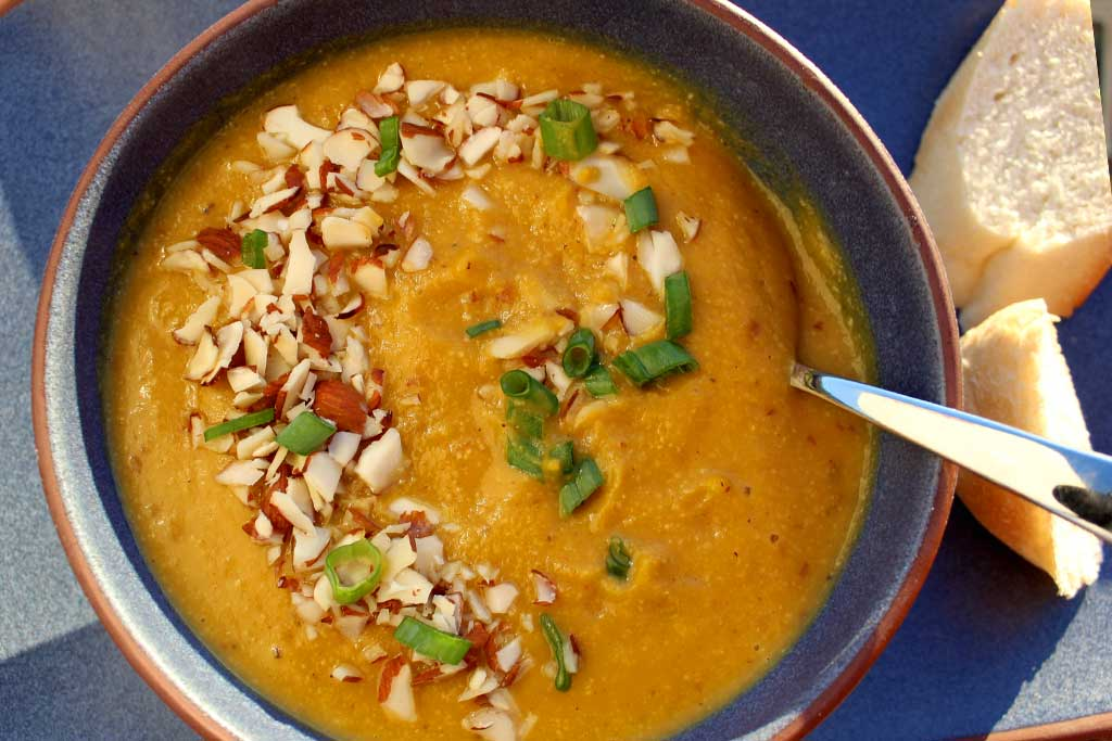 roasted pumpkin soup in bowl ready to eat