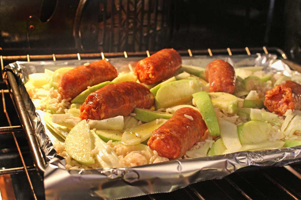 Sausage Apple Fennel Sheet Pan Dinner: A sweet and savory combination of roasted apples, fennel, and spicy Italian sausage and rice. A great weeknight meal! | TheMountainKitchen.com