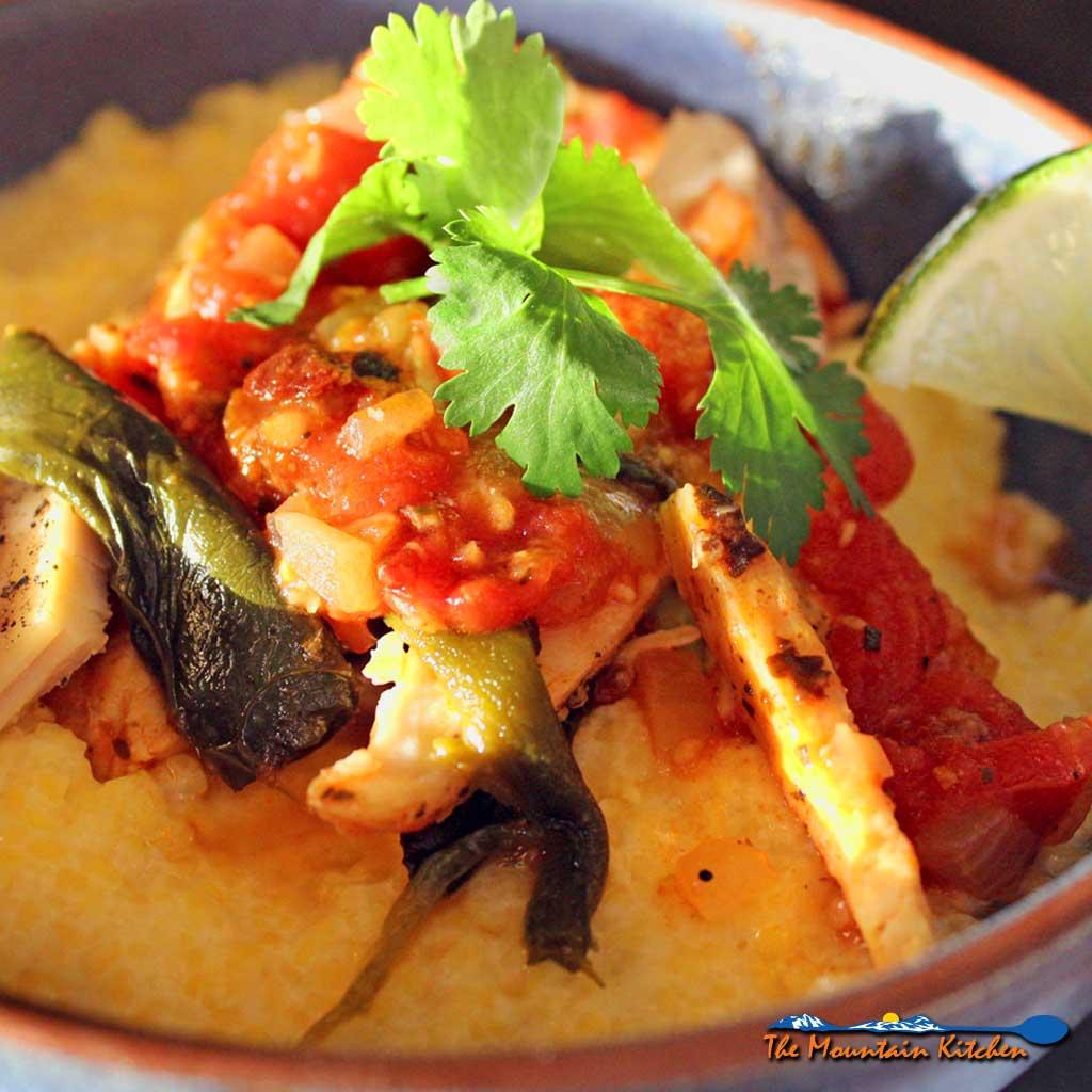 Spicy Chicken Poblano Stew with Polenta