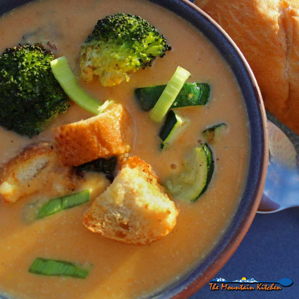 Healthy Carrot-Ginger Soup With Roasted Vegetables {Meatless Monday
